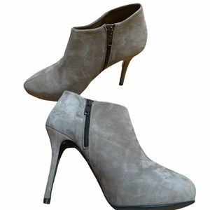Zara Tan Suede Stiletto Heeled Ankle Booties